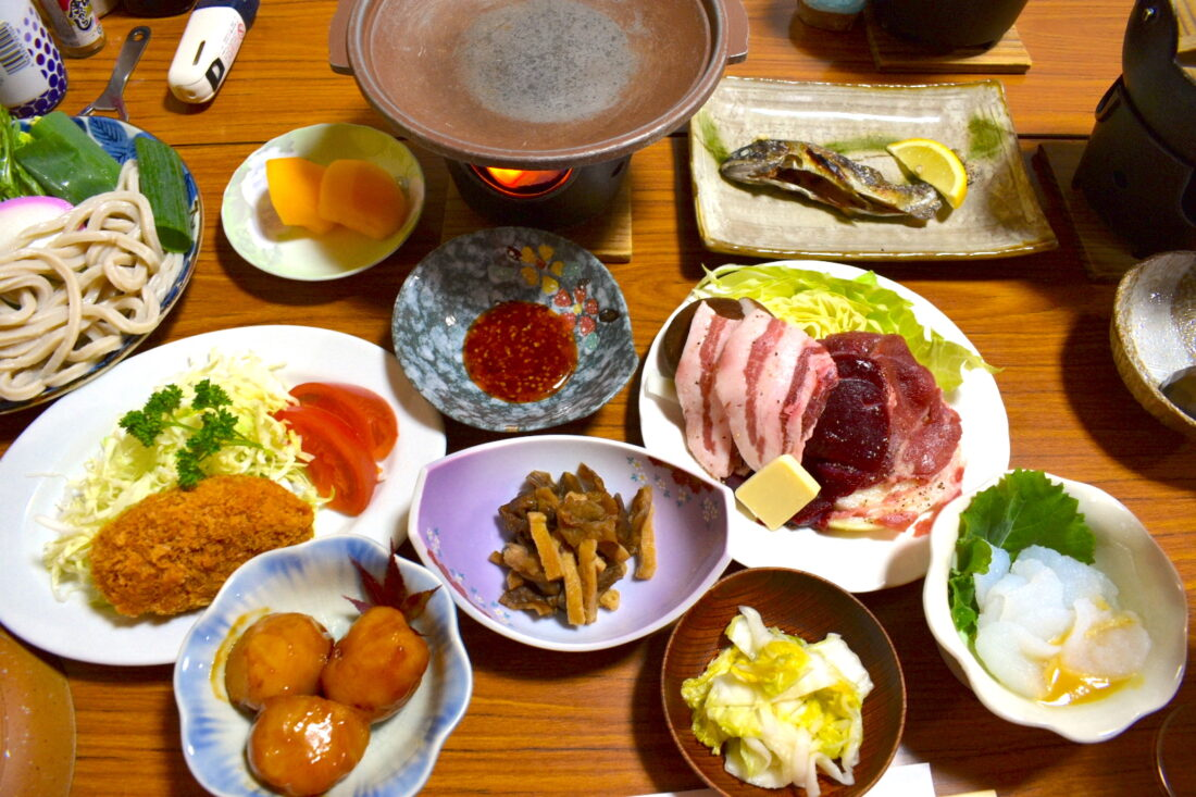 Fall Hiking in Uenomura: Fujinoya Guesthouse meal