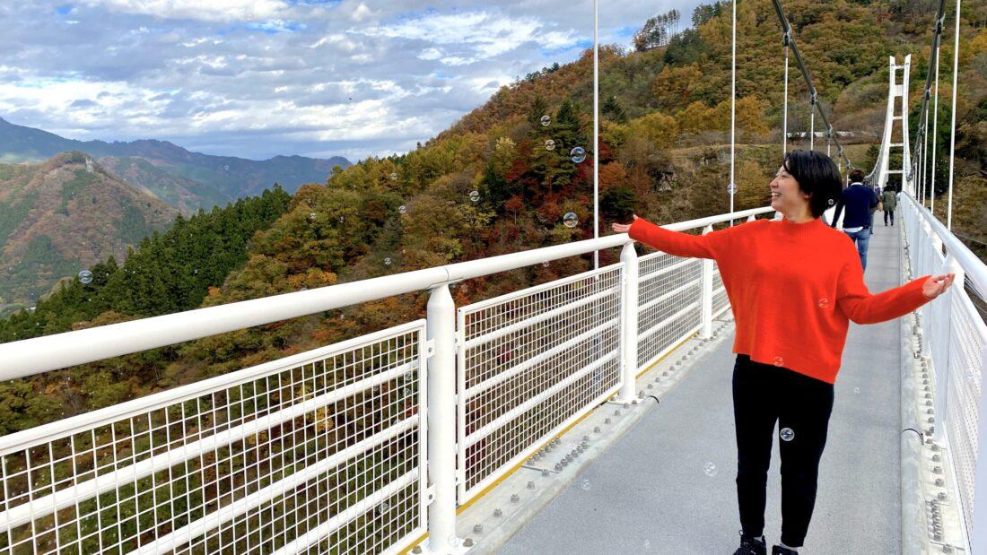 Fall Fun for the Whole Family in Ueno: Ueno Sky Bridge soap bubbles