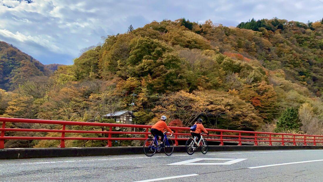Fall Cycling Route in Uenomura: Red Bridge