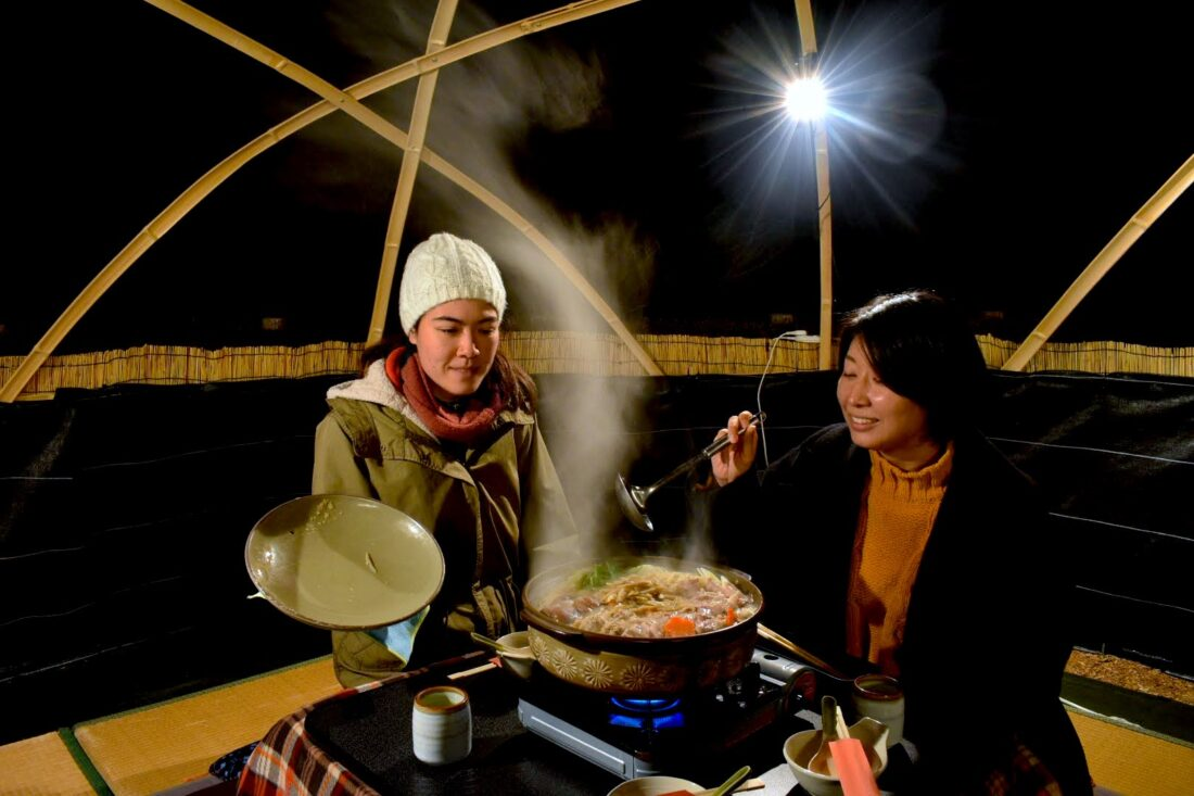 Family Weekend Getaway in Uenomura: Nabe hotpot under the stars